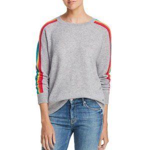 AQUA Rainbow Stripe 100% Cashmere Sweater
